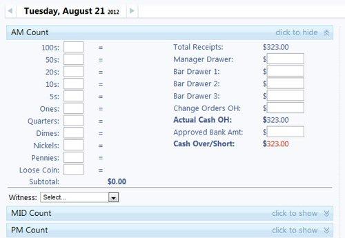 cash count shiftnote support