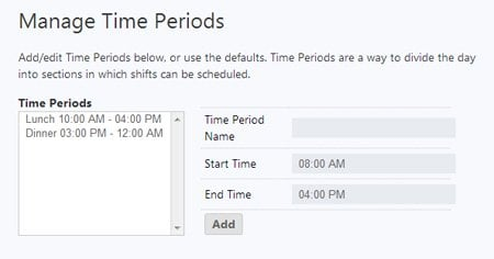 manage time periods