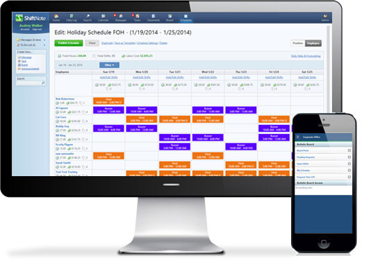 online employee scheduling software from shiftnote