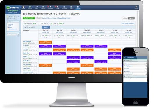 shiftnote restaurant online staff scheduling software