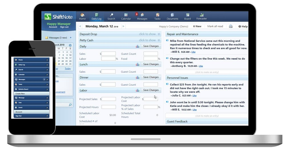 online managers logbook