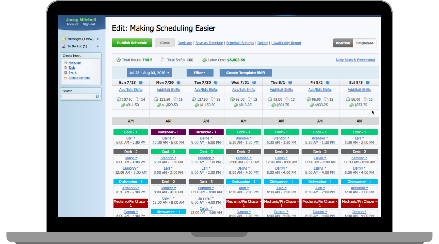 Online employee scheduling and manager log book