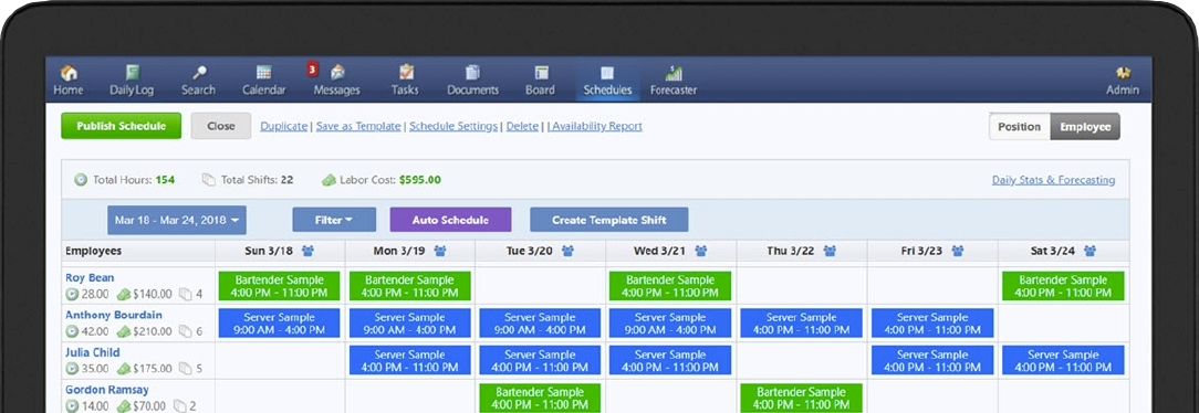 ShiftNote screenshot of employee scheduler