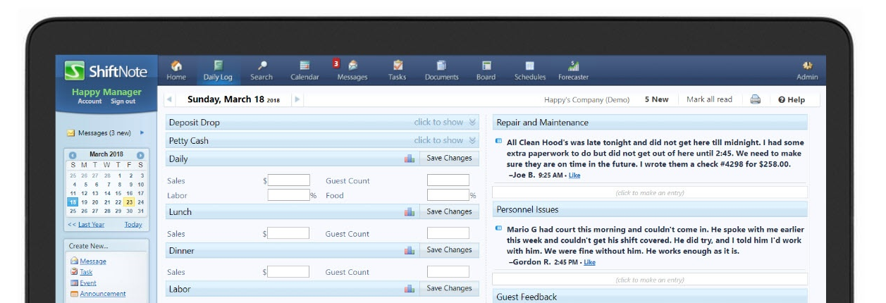 ShiftNote Manager's Logbook View From Inside ShiftNote Page