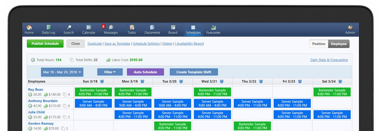 ShiftNote Employee Scheduling View of the program