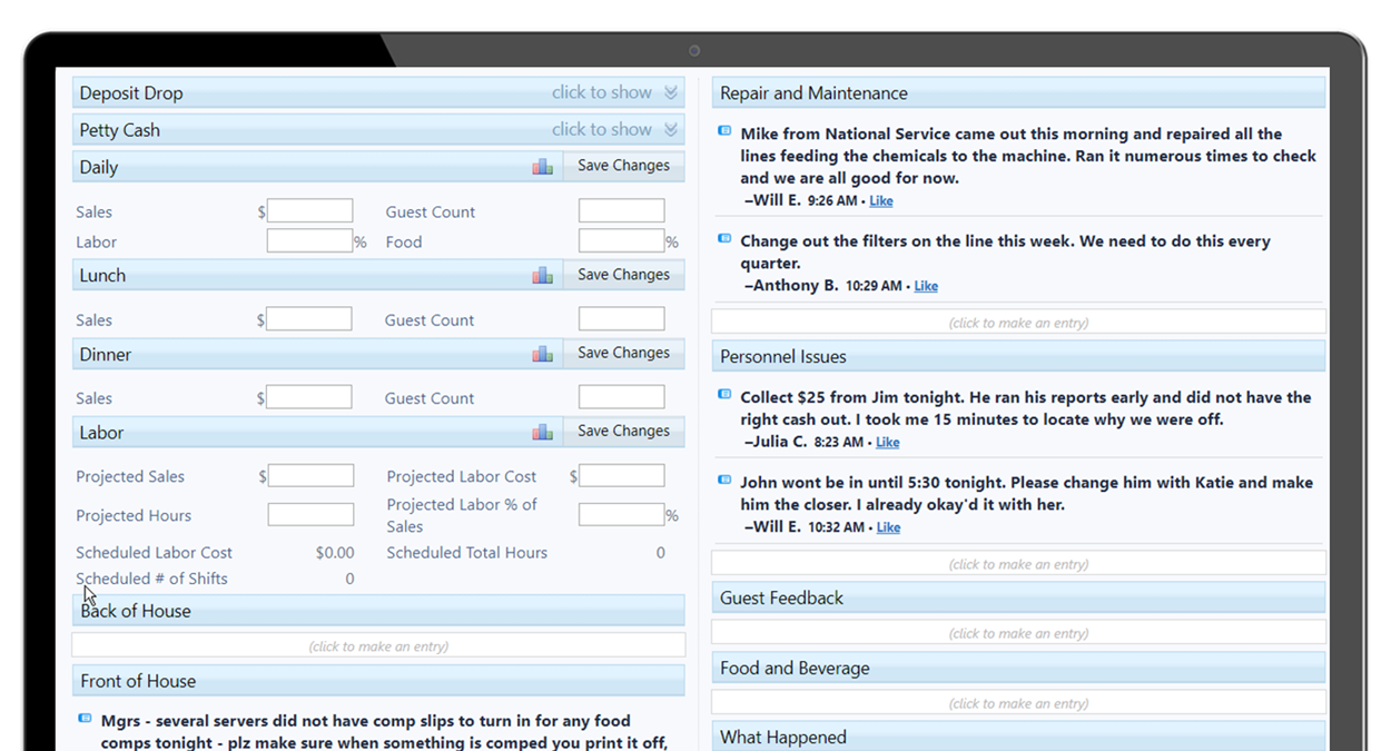 ShiftNote Desktop Managers Log View