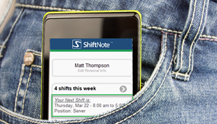 ShiftNote view of the mobile web app